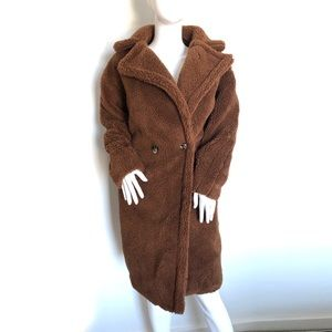 Faux Teddy Bear Brown Oversized Coat M